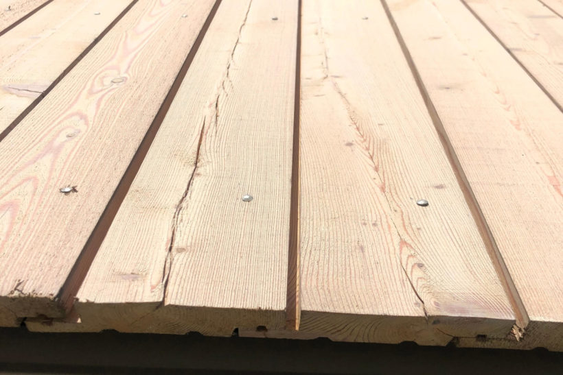 Timber surface checking Siberian Larch